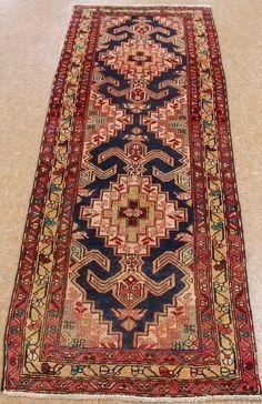 """2'3"""" x 7'4"""" Persian MESHKIN Tribal Hand Knotted Wool NAVY Oriental Rug Runner #PersianMeshkinTribalGeometric"""
