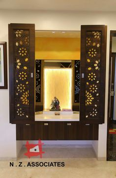 Pooja in a niche with shutters Altar Design, Pooja Room Door Design, Home Room Design, Home Interior Design, House Design, Glass Partition Designs, Temple Room, Glass Cabin, Mandir Design