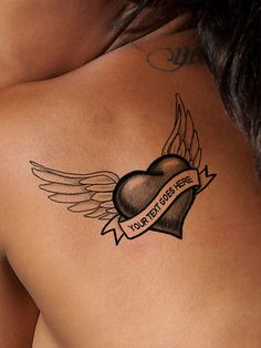Personalize this beautiful winged heart tattoo with your own text. Please type your text in the Tattoo Text box exactly as you want it to appear on your tattoo. Trendy Tattoos, Cute Tattoos, Beautiful Tattoos, Body Art Tattoos, New Tattoos, Small Tattoos, Sleeve Tattoos, Neck Tattoo For Guys, Tattoos For Guys