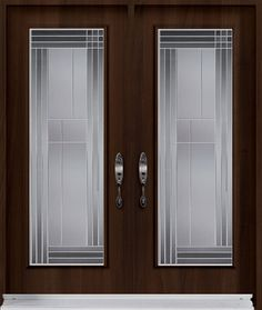 Double entry door from Classic Collection with Lounge decorative glass inserts from our Silkscreen Glass Collection. Wooden Window Design, Window Glass Design, Etched Glass Door, Frosted Glass Door, Modern Wooden Doors, Contemporary Front Doors, Double Doors Exterior, Double Entry Doors, Pooja Room Door Design