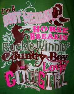 "Girlie Girl T-Shirt - ""Cowgirl"" Visit our Facebook page, www.facebook/cajuntrade"