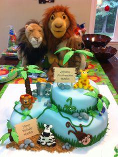 Jungle theme cake for 1st birthday