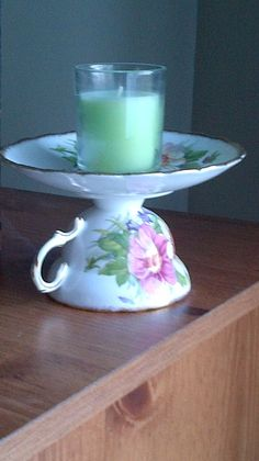 Vintage China Tea Cup Candle Holder by websail on Etsy, $15.00