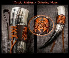 Drinking Horn Holder - Celtic Wolves by TheNetrunner