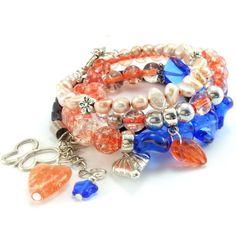Zestaw bransoletki brzoskwinia i kobalt z perłami naturalnymi Bracelets, Jewelry, Fashion, Bangle Bracelets, Jewellery Making, Moda, Jewerly, Jewelery, Fashion Styles