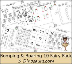 """""""Romping & Roaring"""" Fairy Theme Number 10 Pack, Set 2 (free; from 3 Dinosaurs)"""