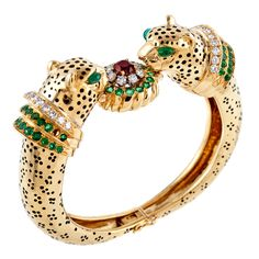 Emerald Ruby Diamond & Enamel Leopard Bangle Bracelet - Fourtane