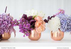 wedding centerpieces copper lila, purple, orchand, white blue , calla lillies, hydrangeas