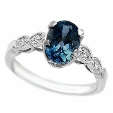 LONDON-BLUE TOPAZ DIAMOND 14k WHITE GOLD ENGAGEMENT RING VINTAGE ANTIQUE STYLE