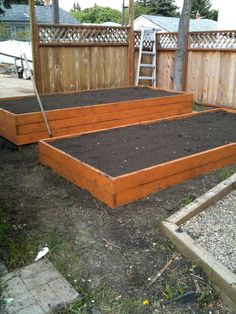 Raised planter boxes in the back yard!