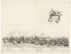 Salomon Savery | Eerste gevecht met de Portugese vloot bij Itamaracá, 1640, Salomon Savery, 1645 - 1647 | Eerste gevecht tussen de vloot van de WIC onder Willem Cornelisz. Loos met de Portugese vloot onder graaf de la Torre bij het eiland Itamaracá, voor de kust van Brazilië, 12 januari 1640. In de lucht een gevleugelde banderol met de titel en de wapens. In het onderschrift de verklaring van de letters A-E en de cijfers 1-6 in het Latijn. Plaat [nr. 42] in een serie van 55 voorstellingen… Vintage World Maps