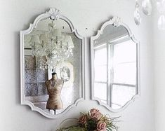 R E G E N C Y ... Old Hollywood White Mirrors Shell Motif Beach Cottage Romantic Home Decor