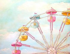 Image of Ferris Wheel print matted ready to frame from Everyday is a Holiday. Carnival Rides, Soft Colors, Pastel Colours, Watercolor Paintings, Art Photography, Carnival Photography, Original Art, Illustration Art, Wall Art