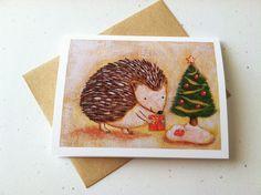 Hedgehog Christmas Card by GoomiesWorld on Etsy, $3.00