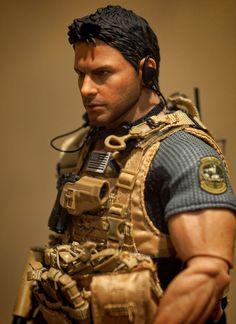 "Custom Chris Redfield Biohazard Resident Evil Hot Toys Base 1/6 Scale 12"" Figure"