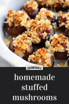 Learn how to make stuffed mushrooms with this deliciously easy recipe from Serious Bean Co — featuring savory Jalapeno & Bacon beans, zesty salsa, and crispy, cheesy panko crumbs. Cookout Side Dishes, Camping Dishes, Cookout Food, Hamburgers, Stuffed Jalapenos With Bacon, Jalapeno Bacon, Mexican Food Recipes, Vegetarian Recipes, Grilling Recipes