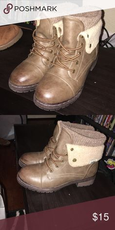 Super cute tan boots! Only worn them a couple times. I got them online and they fit a little loose. Shoes