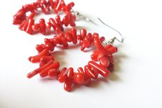 Red Coral Bamboo Large Hoop Earrings by DameCreation on Etsy