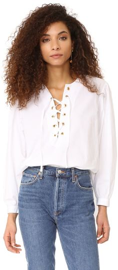 2baf7d648042 White Mes Demoiselles Kasu Lace Up Blouse