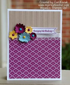 Boho Blossoms Pumch flowers, Summer Smooches DSP, Stripes TIEF by Creative Chat