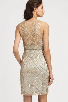 SUE WONG 1920's GATSBY Champagne Silver Beaded Sequin Evening Bridal Dress 4 #SUEWONG #EVENINGCOCKTAILBRIDAL #Cocktail