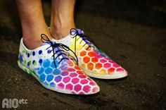Honeycomb, rainbow DIY shoes.