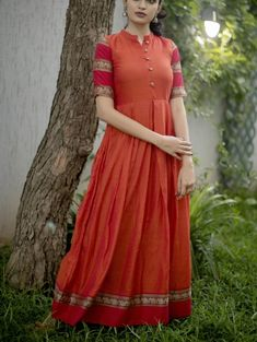Orange Narayanpet with zari border details on bottom and sleeves Box Pleated Dress, Long Gown Dress, Sari Dress, Full Gown, Saree Gown, Anarkali Dress, Long Dresses, Long Dress Design, Dress Neck Designs
