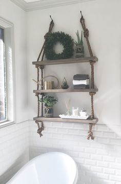 DIY Wood and Rope Shelf  See how to make yours here: