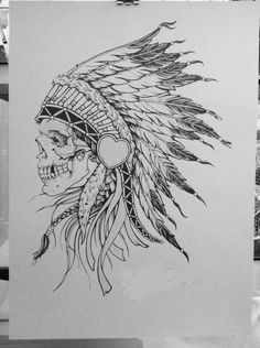 skull in headdress tattoo