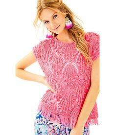 2c126d789d80ea NWT Lilly Pulitzer Cassis Crochet Top Colony Coral Shell Out XS #fashion  #clothing #