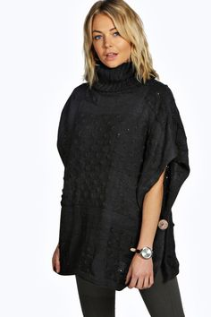 Olivia Knitted Polo Neck Poncho