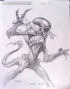 concept art for Alien: Resurrection drone alien  from Den Beauvais Studio  via photobucket.com