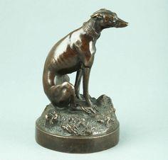 Hochfeine französische Bronze Tierskulptur Windhund um 1860 sign. Baas Animalier