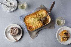 Ahti-sillillä terästetty liha-perunavuoka Camembert Cheese, Dairy, Food, Essen, Meals, Yemek, Eten
