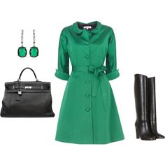 Gorgeous  (If I had anywhere to wear it) Emerald Green Coat Look, created by ggdesigns on Polyvore