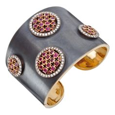Betteridge Collection Silver & 18k Gold Cuff with Ruby & Diamond