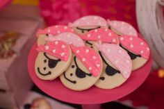 Pirate princess party sugar cookies a little girls 3rd birthday Jennycookies.com