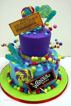 Erster Geburtstag Kuchen New Jersey - Willy Wonka Custom Cakes, Willy Wonka, First Birthday Cakes, Birthday Cake Girls, Custom Birthday Cakes, 7th Birthday, Birthday Ideas, Mini Cakes, Cupcake Cakes, Bolo Neon