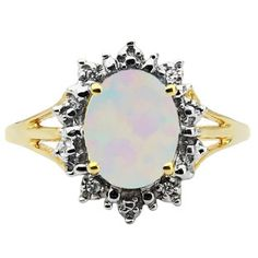 Diamond Oval Opal Gemstone Yellow Gold Starburst Ring Available Exclusively at Gemologica.com