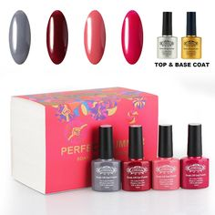 Perfect Summer Soak Off UV LED Soak Off, Salon Nail Art Colors with Clear Base and Top Coat Set - 6 bottles, 10ml Each (Starter Kit -09) ** Find out more about the great product at the image link.