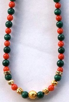 Malachite Red Coral and Fancy Gold Ball Necklace by SunMoonJewels