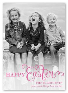 Script Overlay Easter Card, Square Corners, Pink