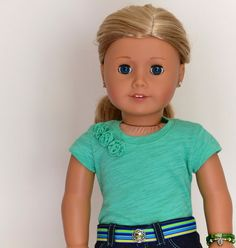 18 inch, American Girl  Doll Clothes. Low-rise Skinny Jeans with belt, Fashion Knit T-Shirt, bracelets
