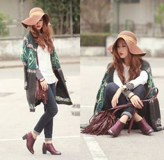 Free People Knit Cardi, Tout A Coup Pleated Top, Free People Jeans, Roxy Bag, Miista Metallic Wine Booties