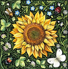 Sunflower+and+Clover+Art+Print+by+giardino+on+Etsy,+$15.00