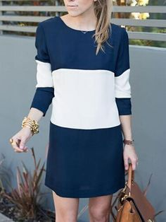 Navy Contrast Long Sleeve Keyhole Shift Dress
