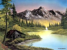 Peaceful Landscape Paintings by Bob Ross, Oil paintings of mountains, lakes, snow, and log cabin scenes. Bob Ross Landscape, Landscape Art, Landscape Paintings, Nature Paintings, Popular Paintings, Paintings For Sale, Peintures Bob Ross, Bob Ross Art, Bob Ross Paintings