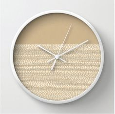 Beige Clock, Modern wall clock in Pantone colors of 2014 Sand, color blocked minimalist pattern, white dots on natural tan, wall clock on Etsy, $40.00