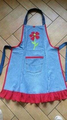 Toddler / Children Apron Personalized Handmade Denim and Accent Fabric of Choice Embroidery Applique With Ruffles Pockets and Rickrack Sewing Aprons, Sewing Clothes, Diy Clothes, Sewing Rooms, Jean Crafts, Denim Crafts, Sewing Hacks, Sewing Crafts, Sewing Projects