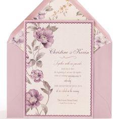 invitacin de boda romntica y delicada con acuarela de flores en tonos violetas sobre malva